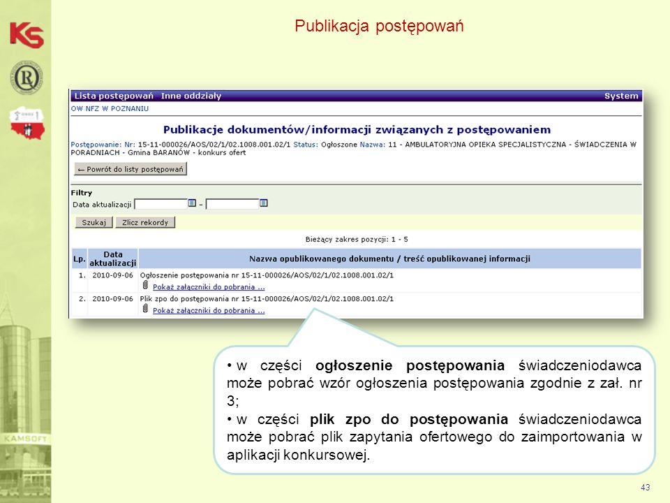 Publikacja postępowań