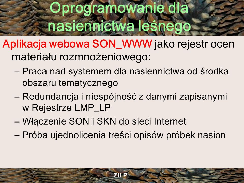 Aplikacja webowa SON_WWW jako rejestr ocen materiału rozmnożeniowego: