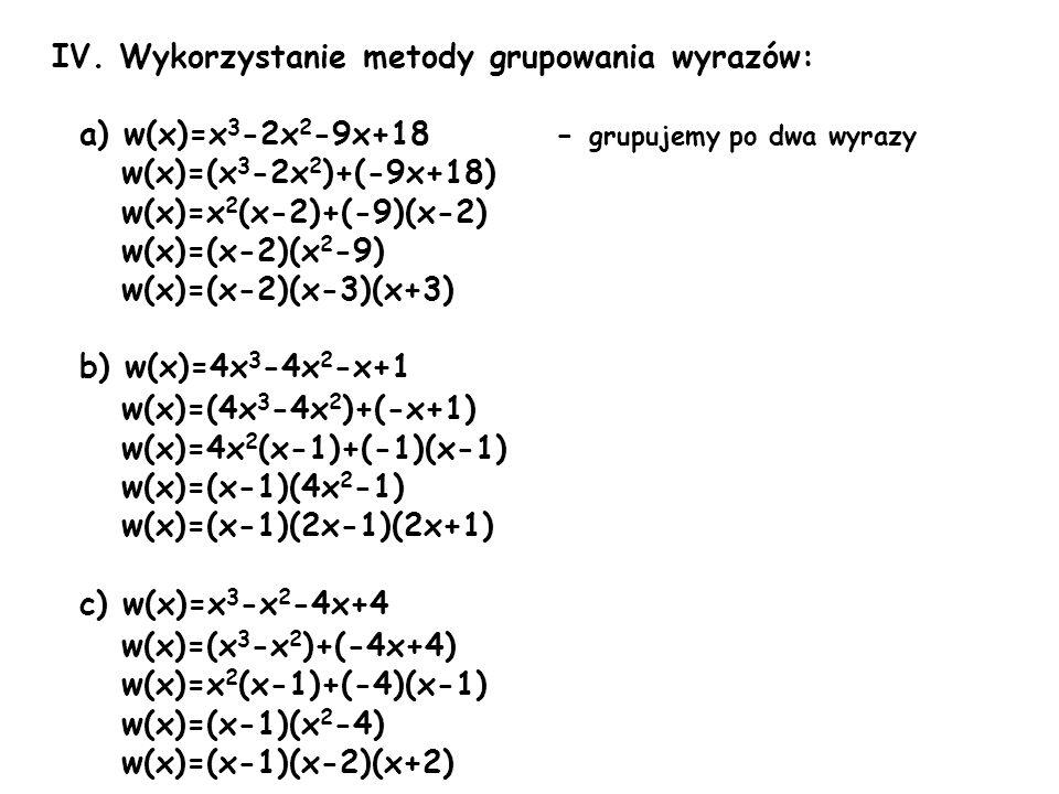IV. Wykorzystanie metody grupowania wyrazów:
