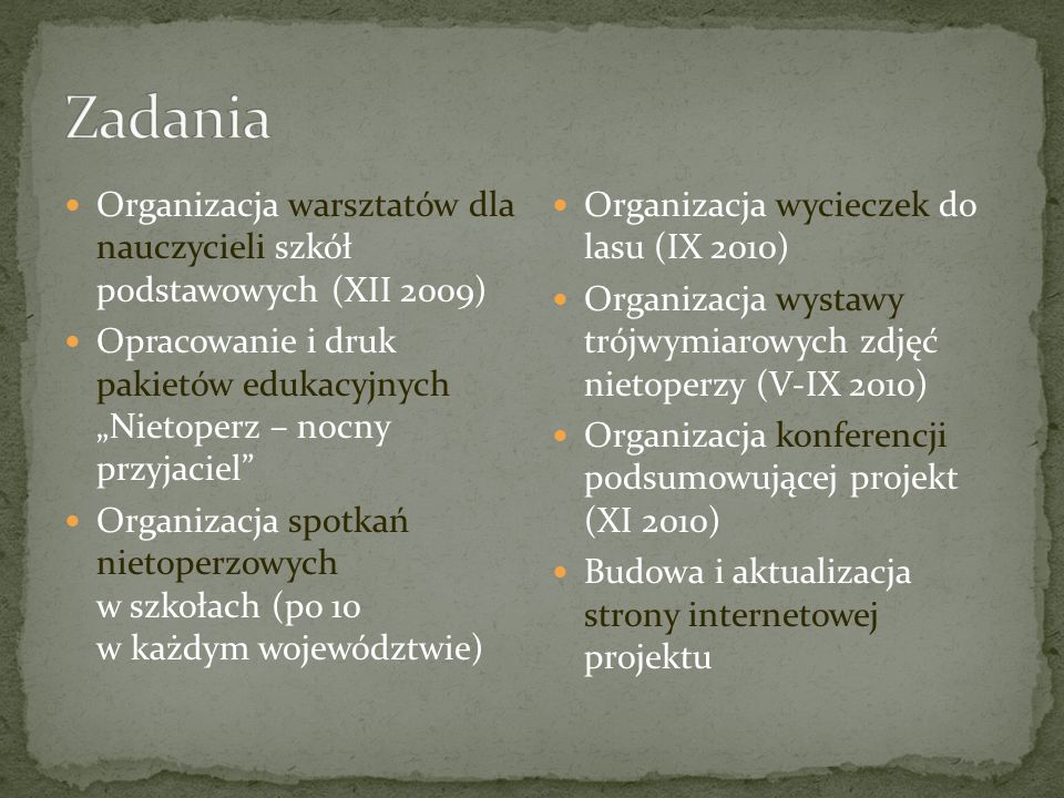 Zadania Organizacja warsztatów dla nauczycieli szkół podstawowych (XII 2009)