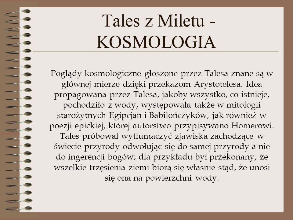 Tales z Miletu - KOSMOLOGIA