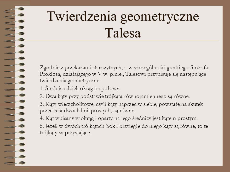 Twierdzenia geometryczne Talesa