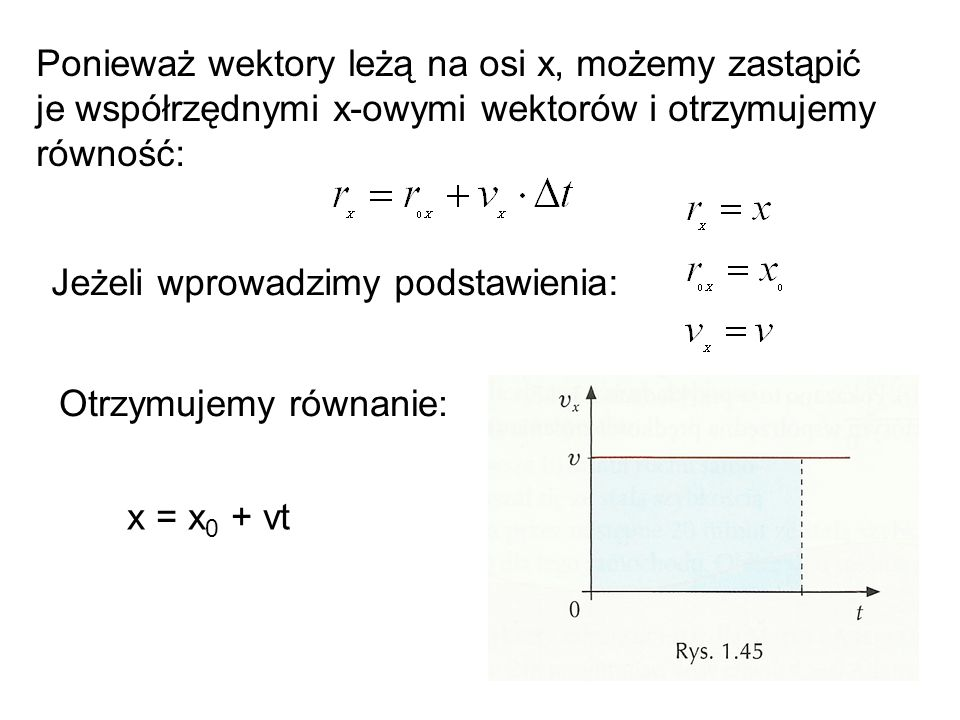 Ponieważ wektory leżą na osi x, możemy zastąpić je współrzędnymi x-owymi wektorów i otrzymujemy równość: