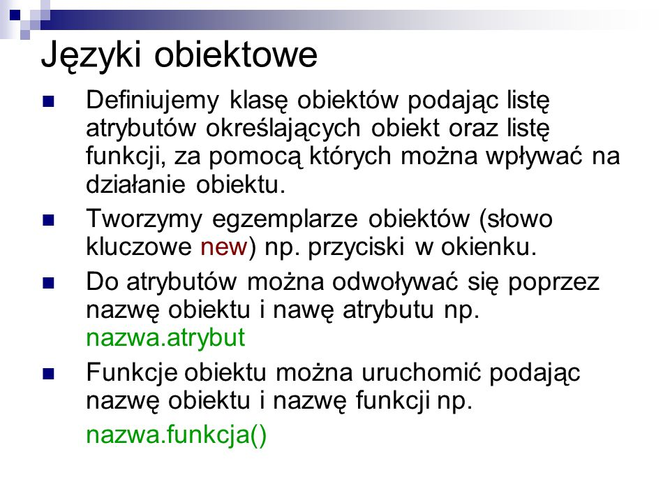 Języki obiektowe