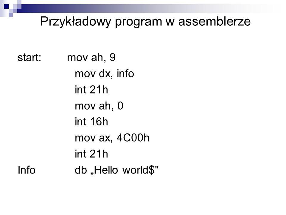 Przykładowy program w assemblerze