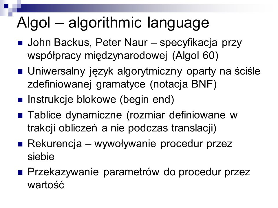 Algol – algorithmic language
