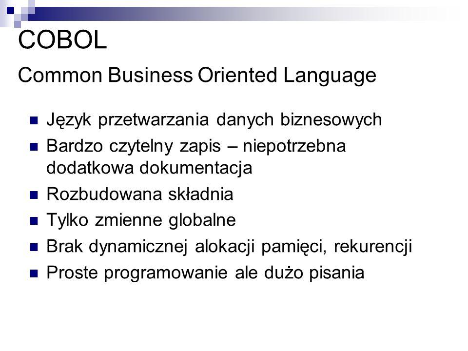 COBOL Common Business Oriented Language