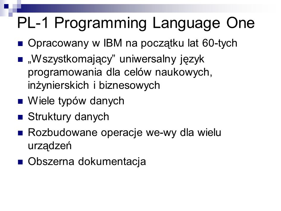 PL-1 Programming Language One