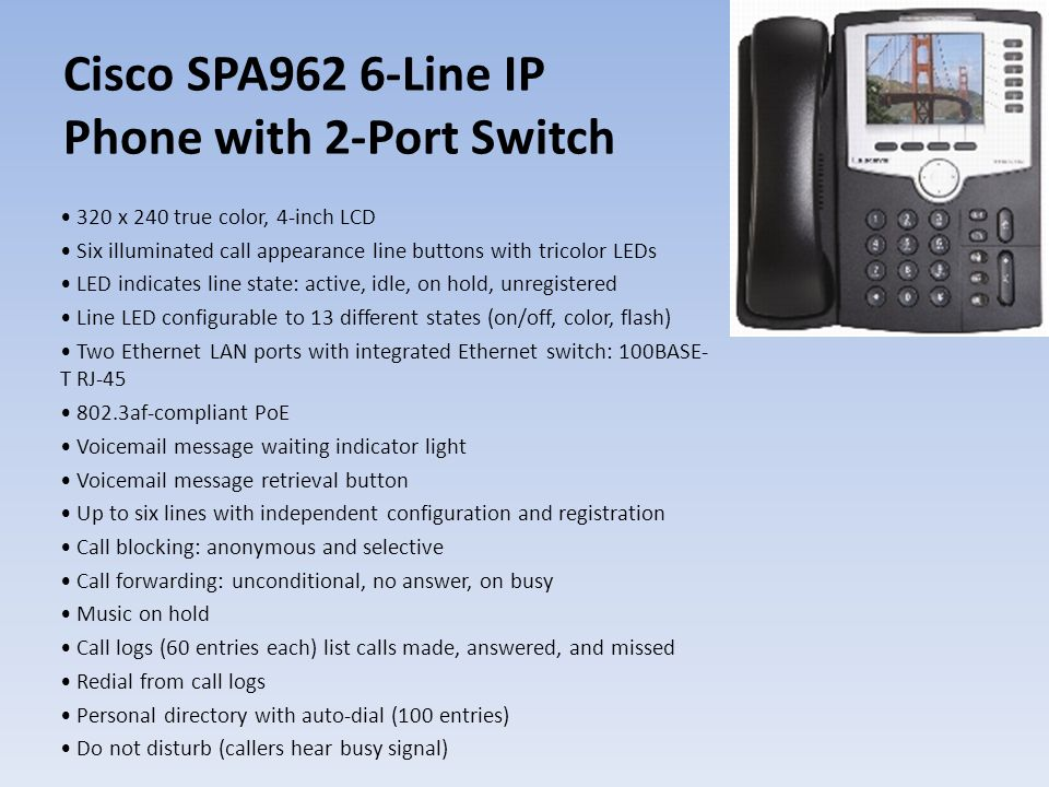 Cisco SPA962 6-Line IP Phone with 2-Port Switch