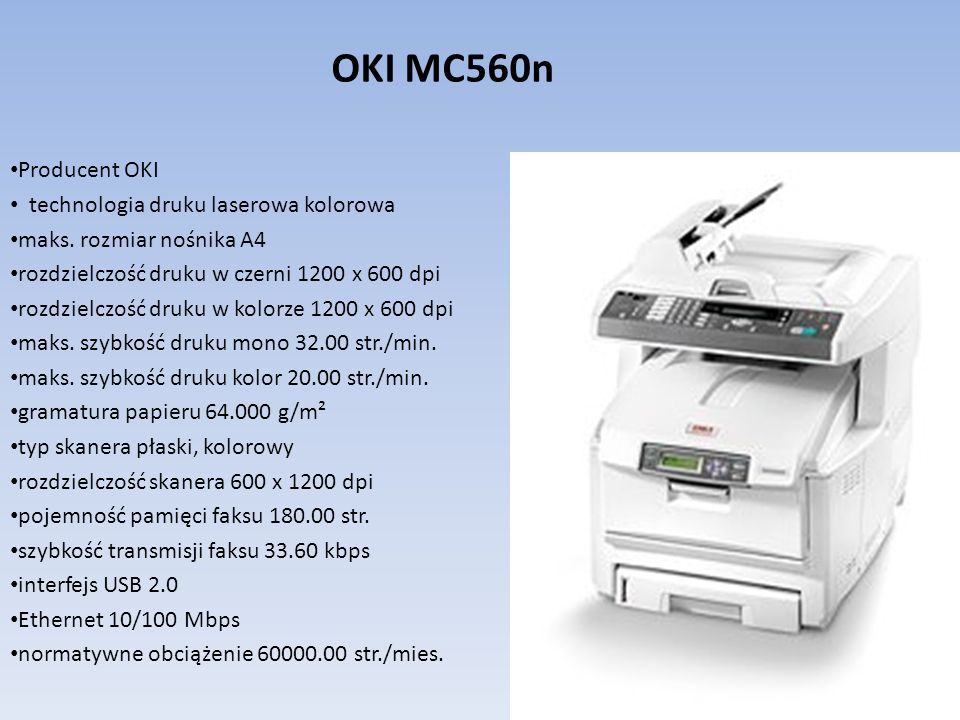 OKI MC560n Producent OKI technologia druku laserowa kolorowa