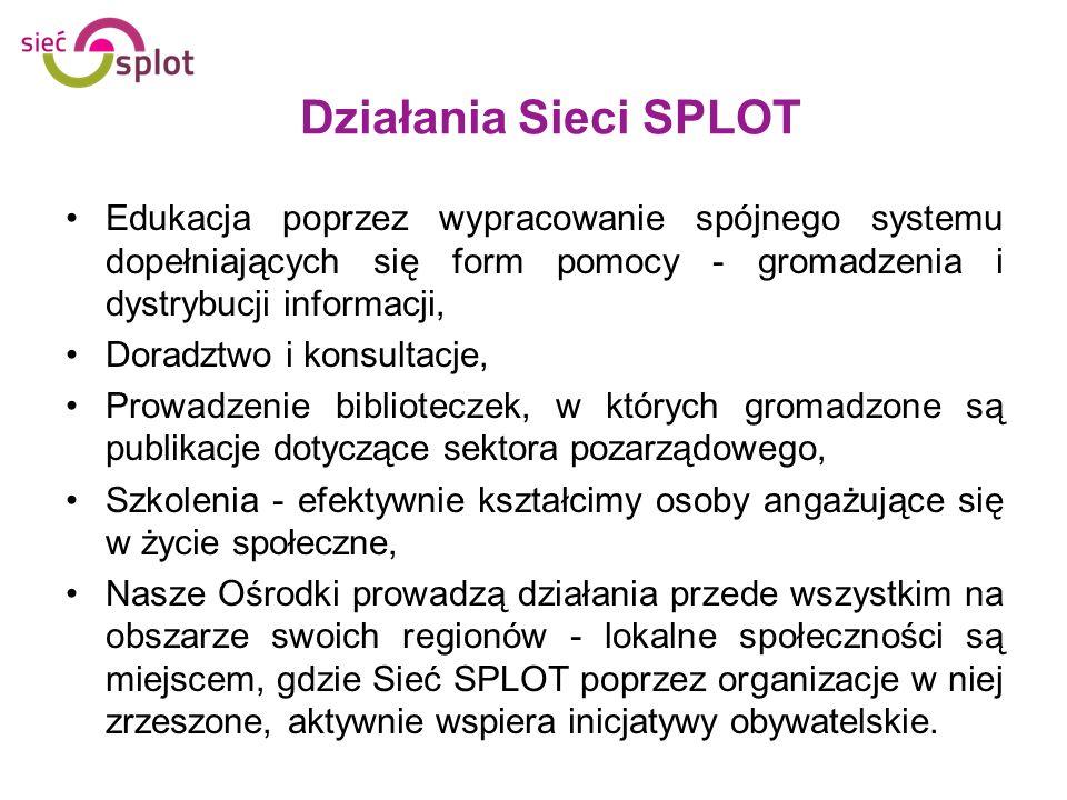 Działania Sieci SPLOT Edukacja poprzez wypracowanie spójnego systemu dopełniających się form pomocy - gromadzenia i dystrybucji informacji,