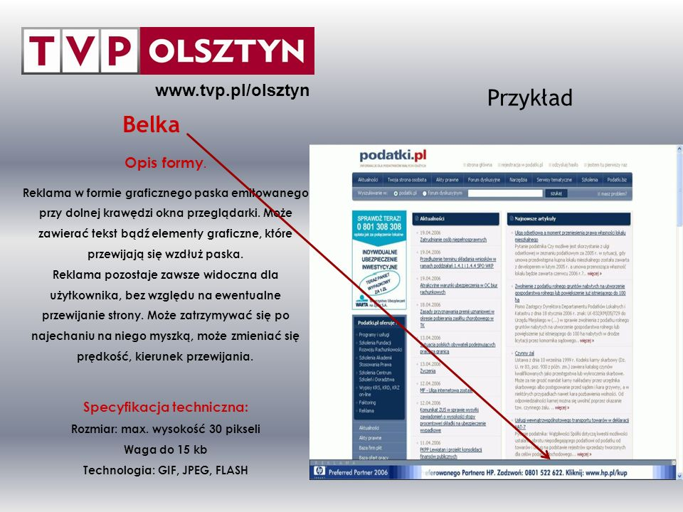 Przykład Belka www.tvp.pl/olsztyn Opis formy.