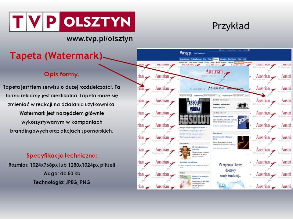Przykład Tapeta (Watermark) www.tvp.pl/olsztyn Opis formy.