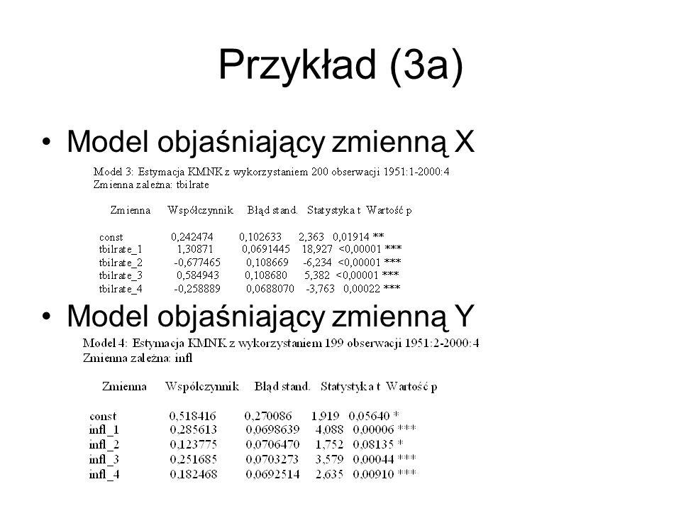 Przykład (3a) Model objaśniający zmienną X