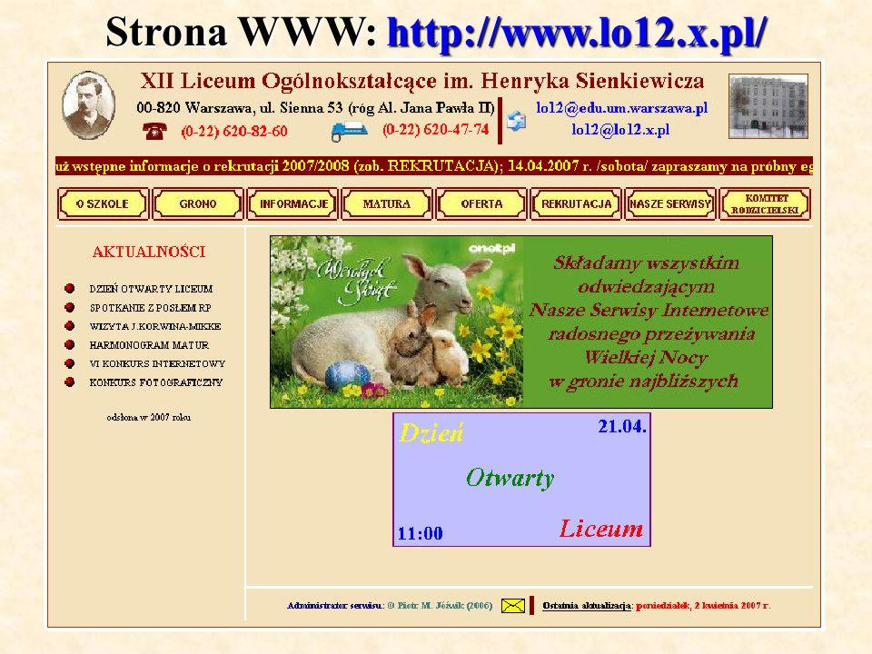 Strona WWW: http://www.lo12.x.pl/