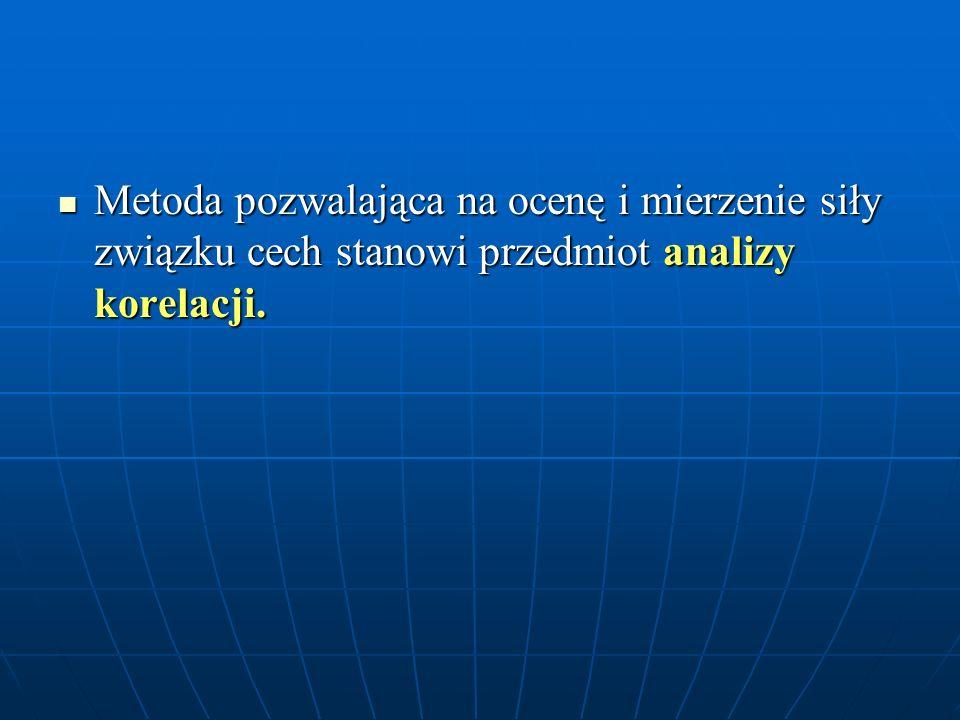 Metoda pozwalająca na ocenę i mierzenie siły związku cech stanowi przedmiot analizy korelacji.