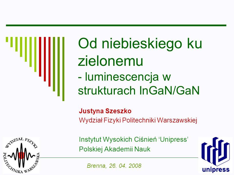 Od niebieskiego ku zielonemu - luminescencja w strukturach InGaN/GaN