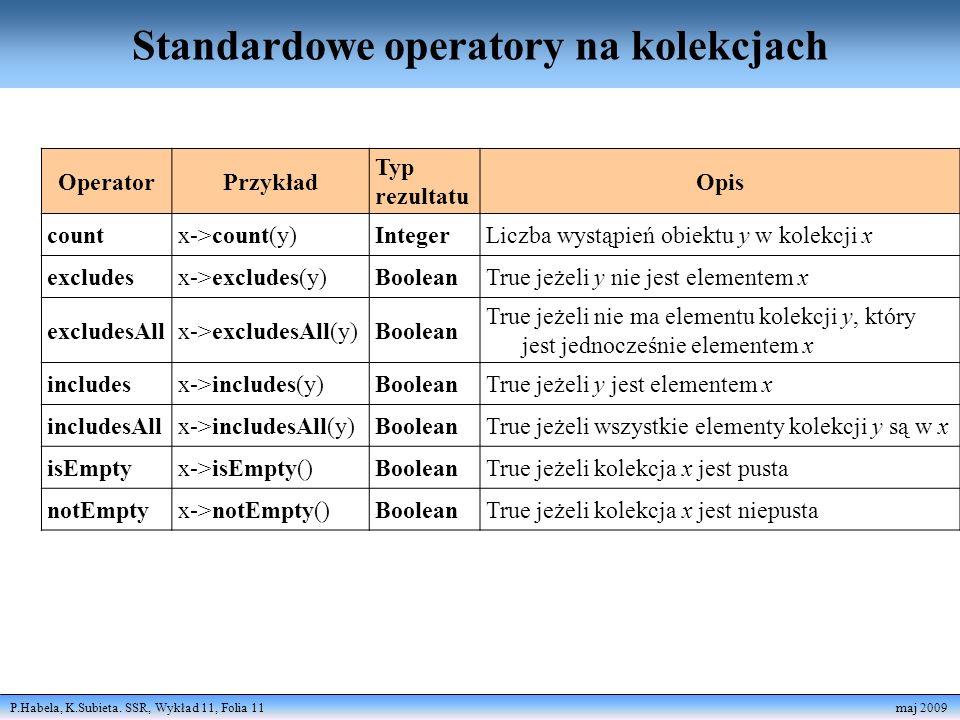 Standardowe operatory na kolekcjach