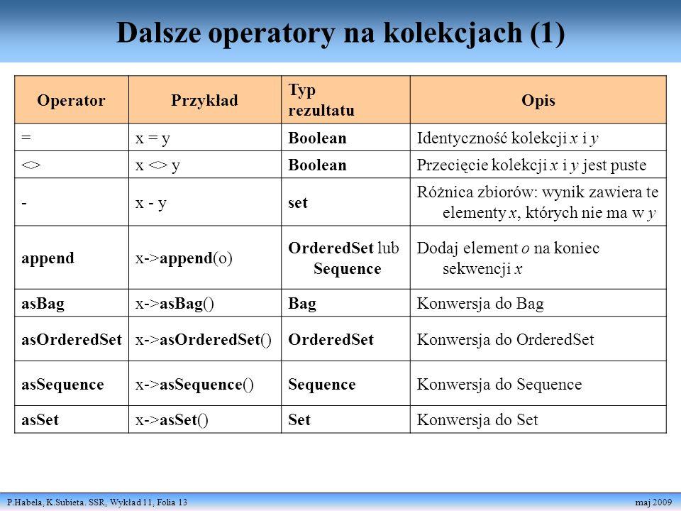 Dalsze operatory na kolekcjach (1)