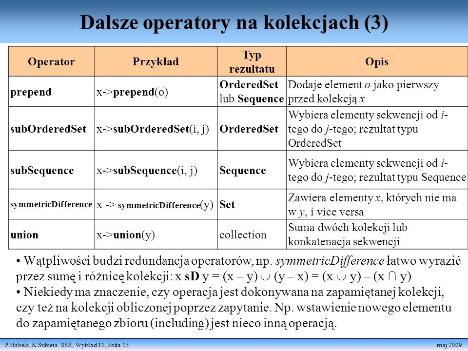 Dalsze operatory na kolekcjach (3)