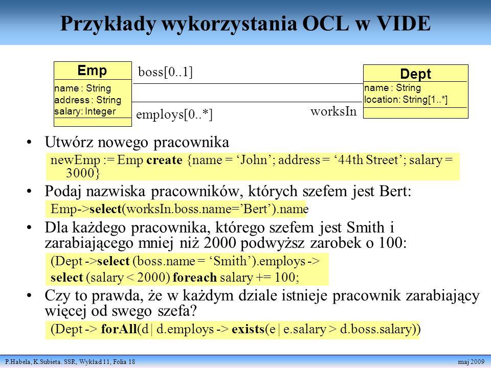 Przykłady wykorzystania OCL w VIDE
