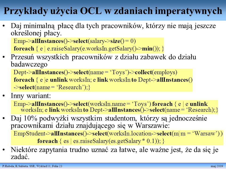 Przykłady użycia OCL w zdaniach imperatywnych