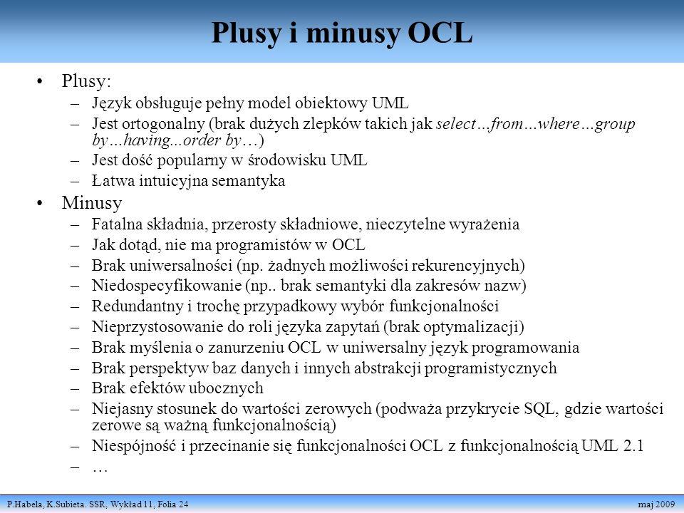Plusy i minusy OCL Plusy: Minusy