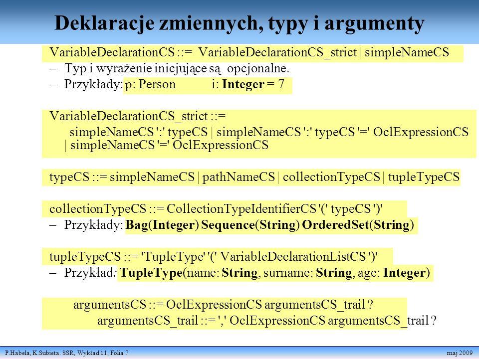 Deklaracje zmiennych, typy i argumenty