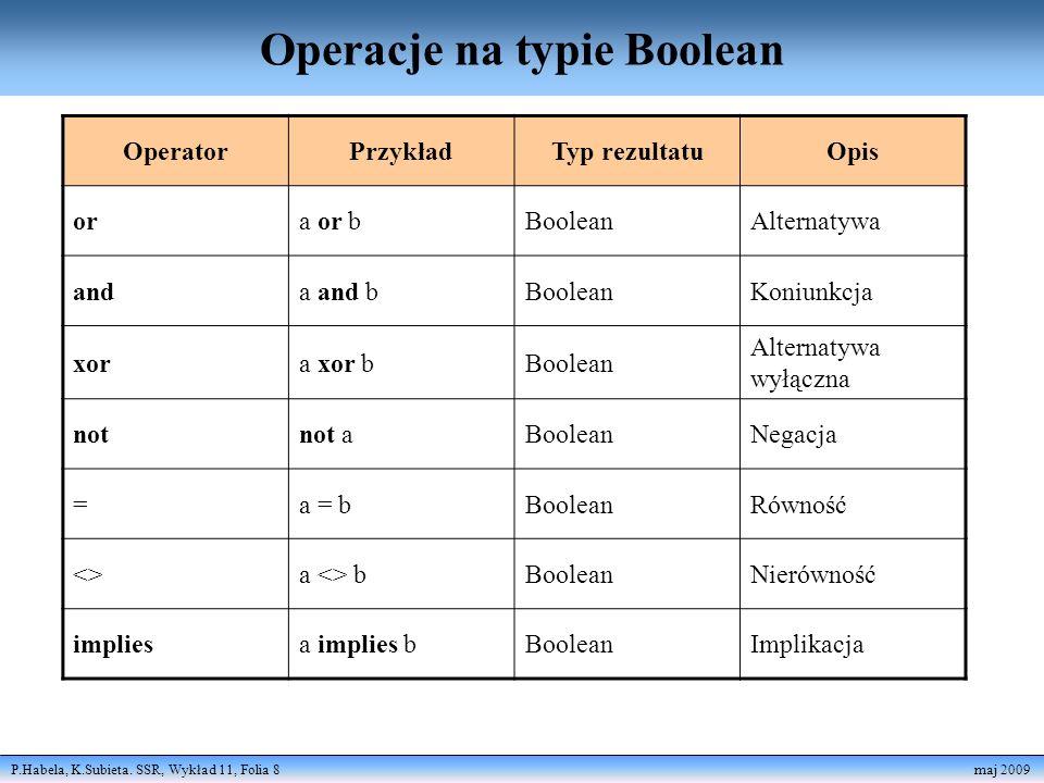 Operacje na typie Boolean