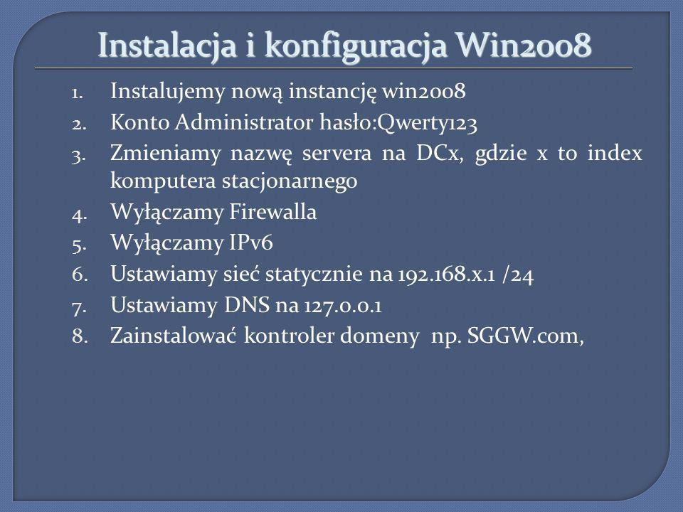 Instalacja i konfiguracja Win2008