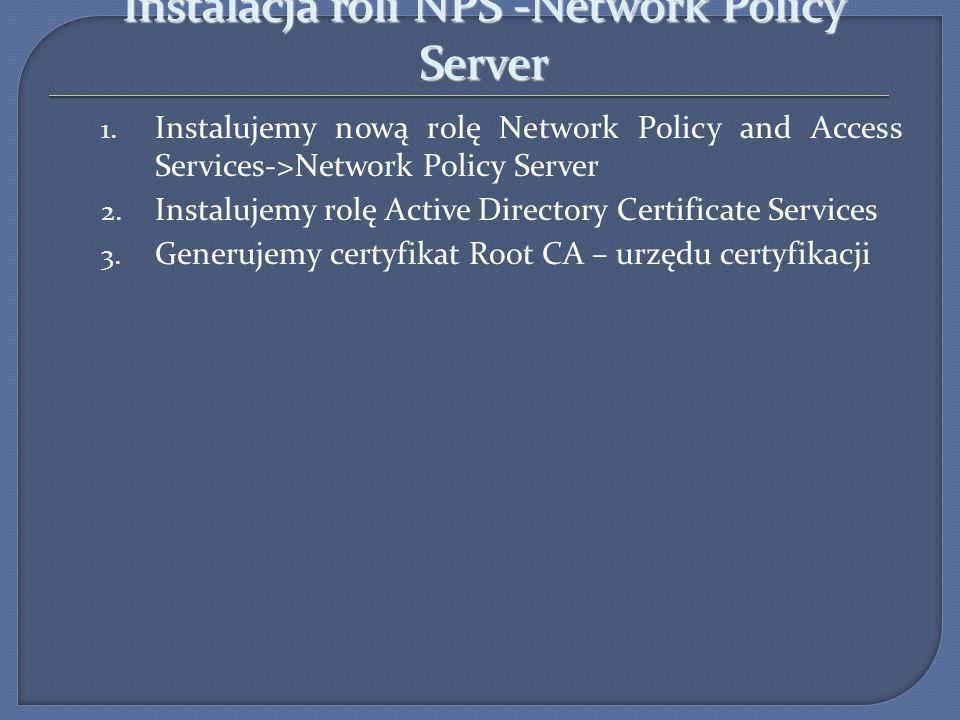 Instalacja roli NPS -Network Policy Server