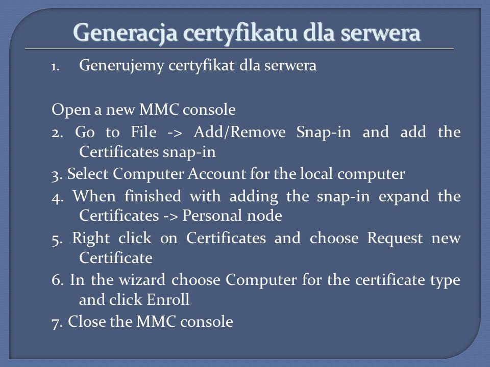 Generacja certyfikatu dla serwera