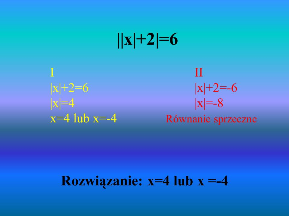 Rozwiązanie: x=4 lub x =-4