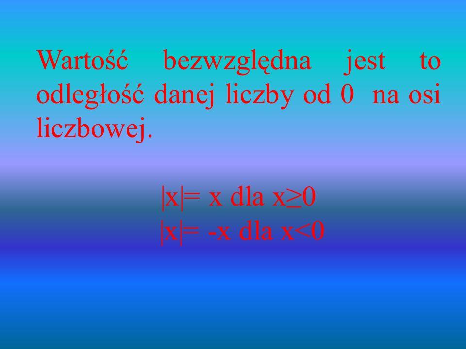 Wartość bezwzględna jest to odległość danej liczby od 0 na osi liczbowej.