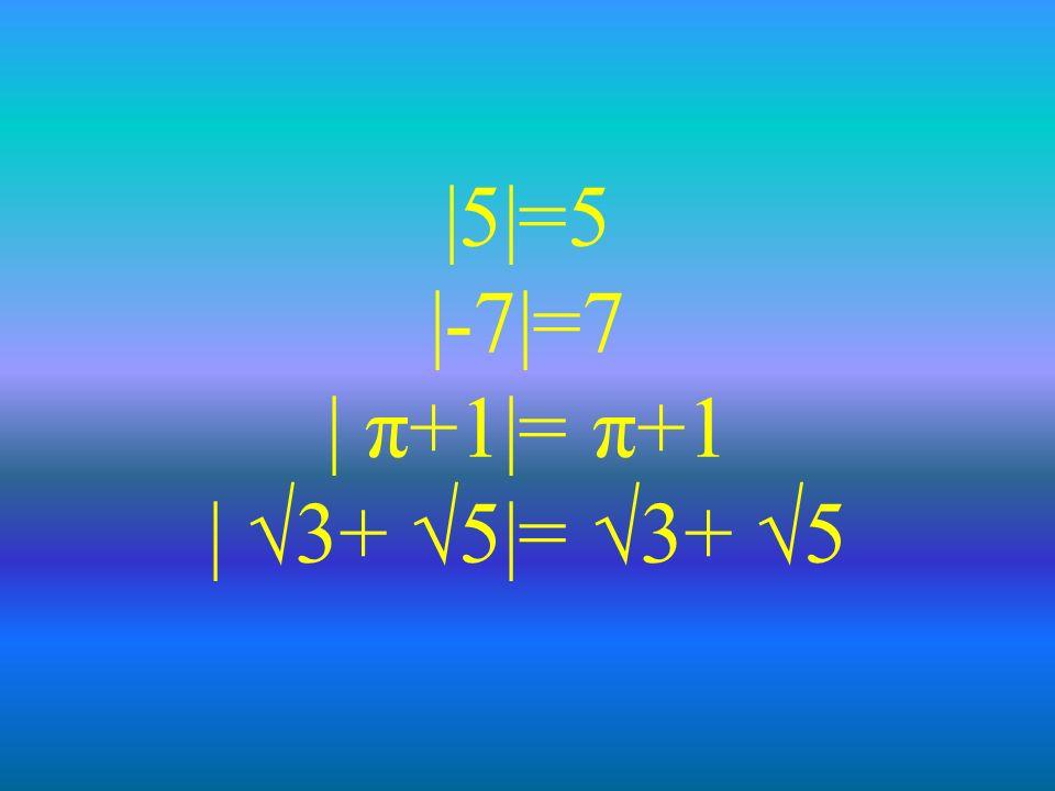 |5|=5 |-7|=7 | π+1|= π+1 | √3+ √5|= √3+ √5