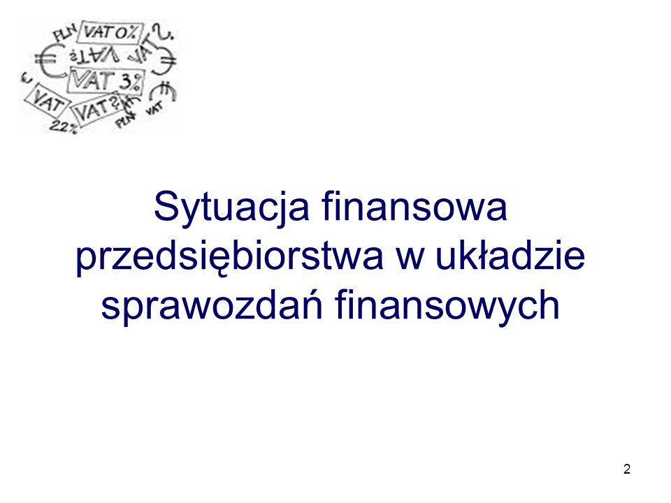Sytuacja finansowa przedsiębiorstwa w układzie sprawozdań finansowych