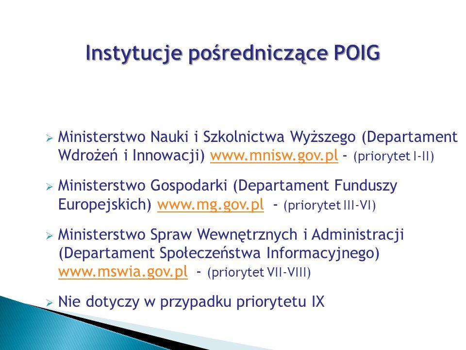 Instytucje pośredniczące POIG