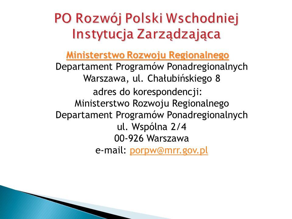 PO Rozwój Polski Wschodniej Instytucja Zarządzająca