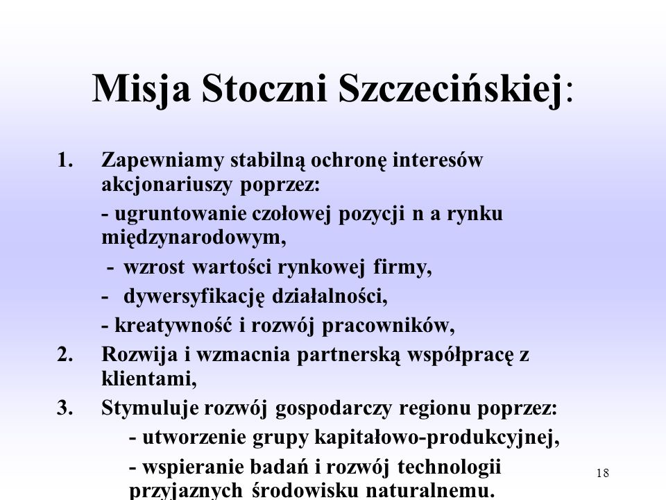 Misja Stoczni Szczecińskiej: