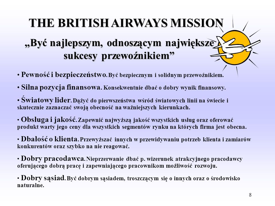 THE BRITISH AIRWAYS MISSION