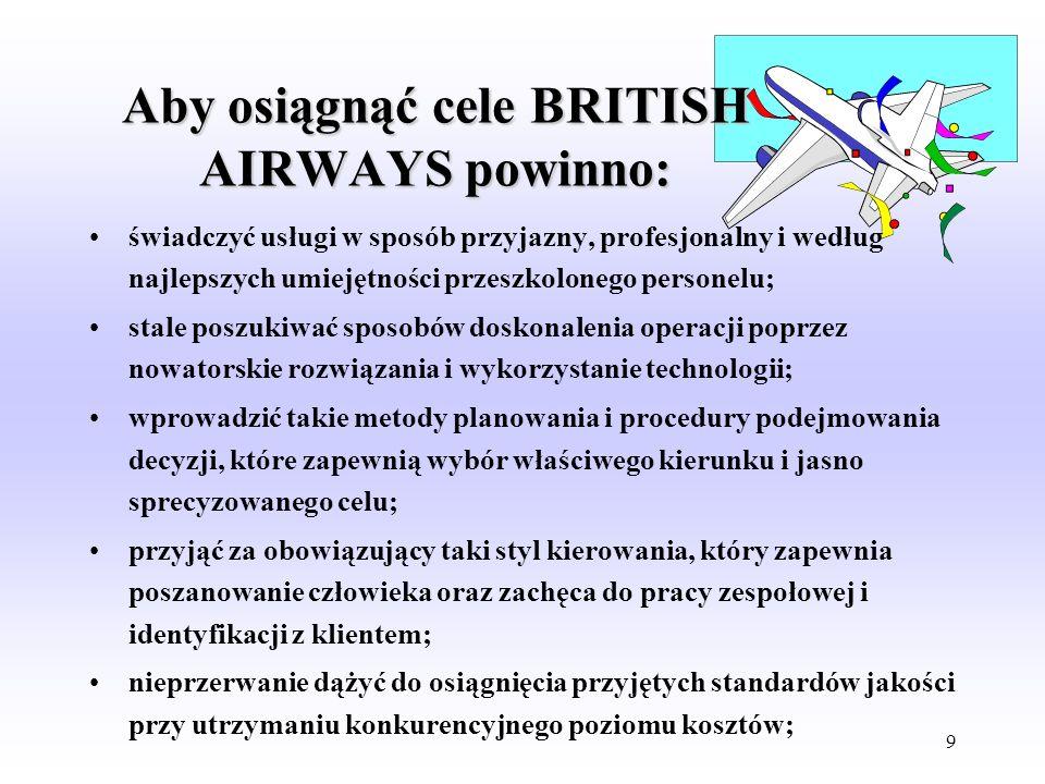 Aby osiągnąć cele BRITISH AIRWAYS powinno: