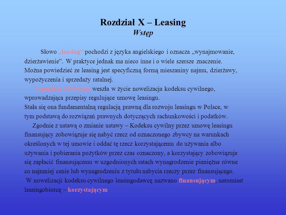 Rozdział X – Leasing Wstęp