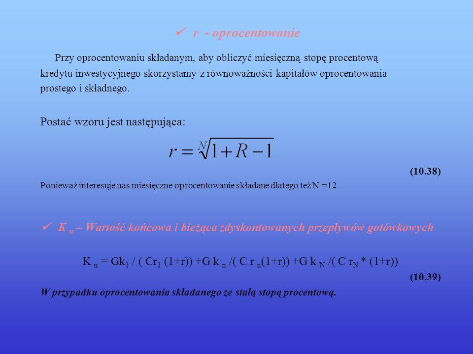 K n = Gk1 / ( Cr1 (1+r)) +G k n /( C r n(1+r)) +G k N /( C rN * (1+r))