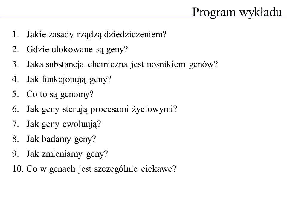 Program wykładu Jakie zasady rządzą dziedziczeniem