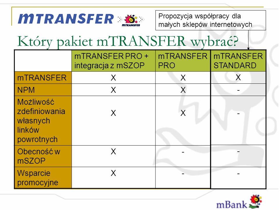 Który pakiet mTRANSFER wybrać