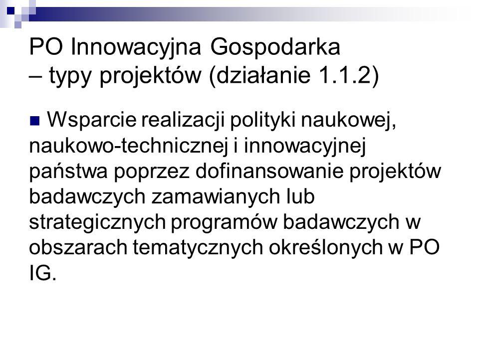 PO Innowacyjna Gospodarka – typy projektów (działanie 1.1.2)