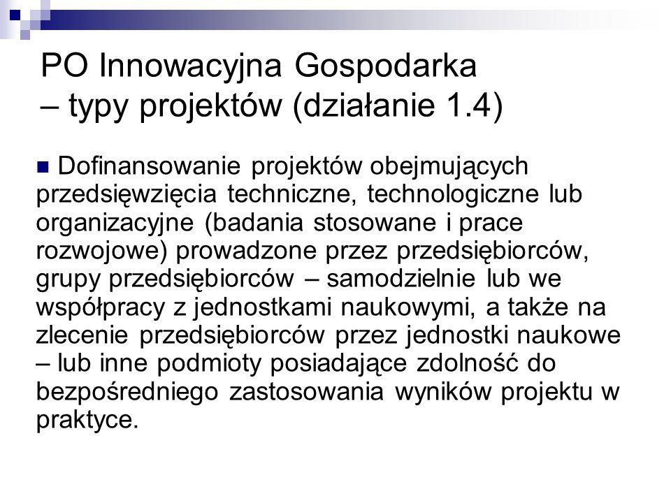 PO Innowacyjna Gospodarka – typy projektów (działanie 1.4)