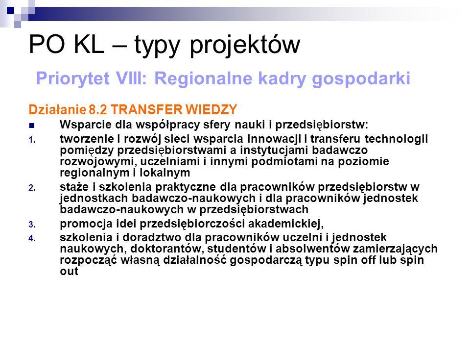 PO KL – typy projektów Priorytet VIII: Regionalne kadry gospodarki