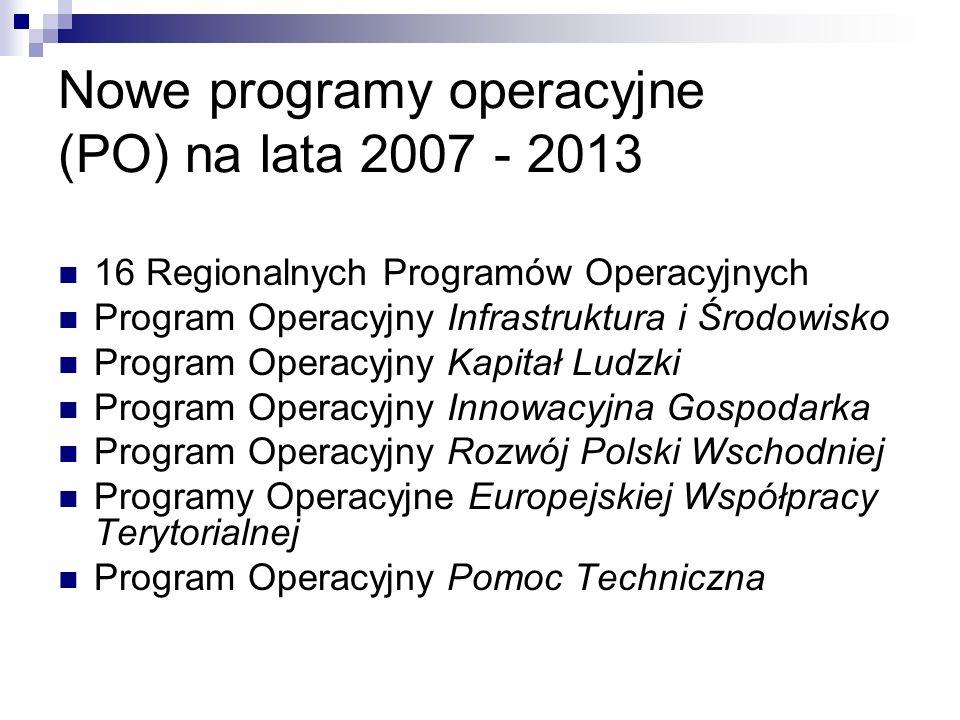 Nowe programy operacyjne (PO) na lata 2007 - 2013
