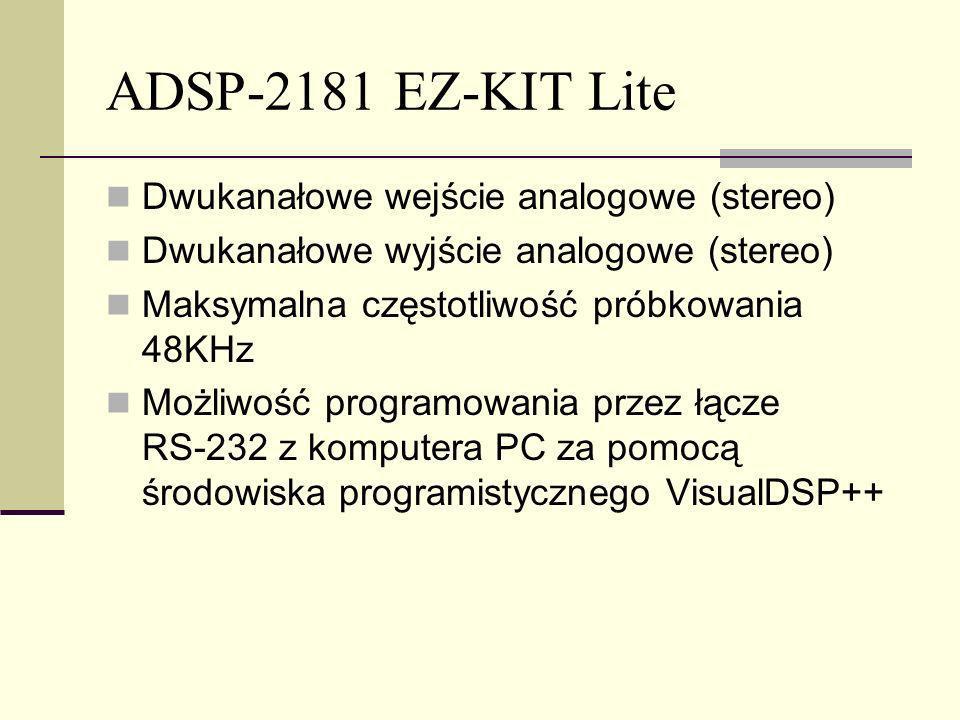 ADSP-2181 EZ-KIT Lite Dwukanałowe wejście analogowe (stereo)